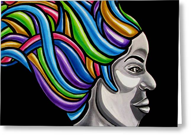 Colorful Abstract Black Woman Face Hair Painting Artwork - African Goddess Greeting Card