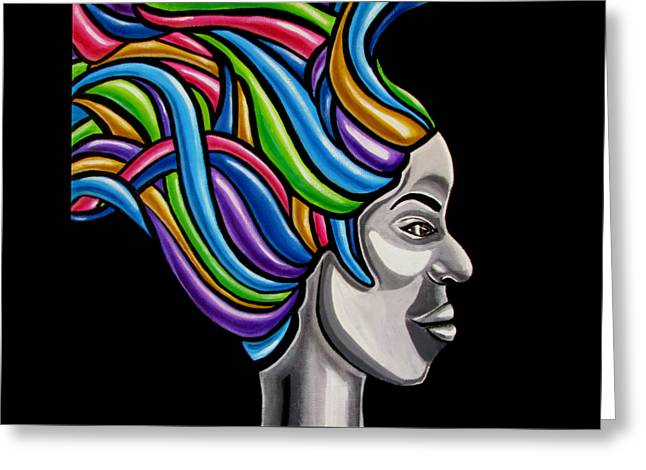 Abstract Face Painting Black Woman Art African Goddess Art Medusa Ai P. Nilson Greeting Card