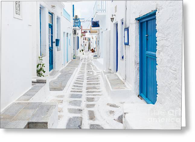 Mykonos Streetview, Greece Greeting Card