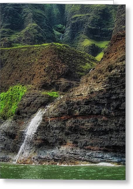 Na Pali Coast Waterfall Greeting Card