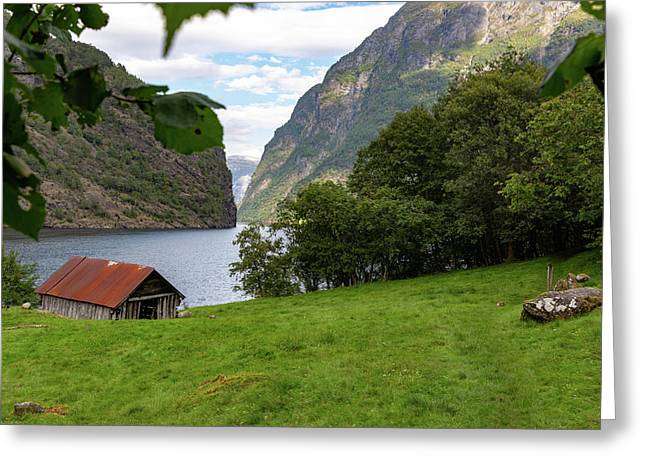 Greeting Card featuring the photograph Naeroyfjord, Norway by Andreas Levi