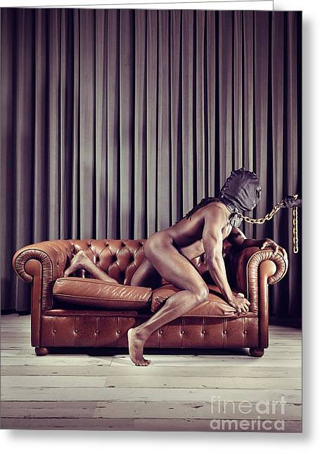 Naked Man With Mask On A Sofa Greeting Card