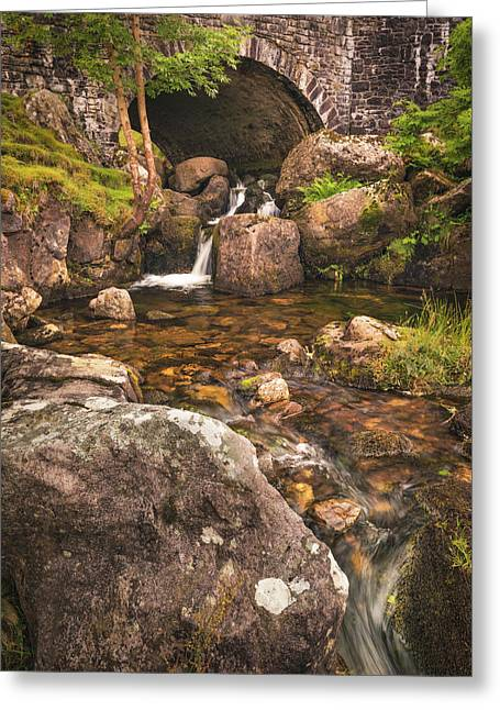 Nant Gaws Waterfall And Old Stone Bridge Greeting Card