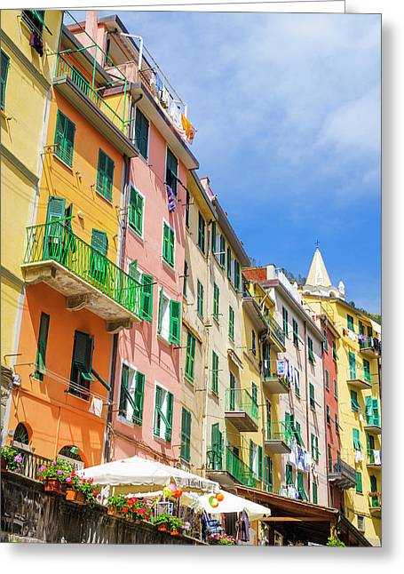 Narrow Street And Colorful Houses Greeting Card by Russ Bishop