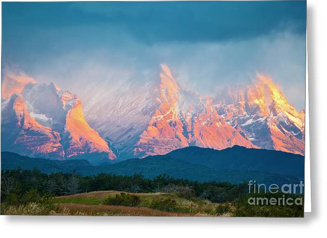 National Park Torres Del Paine In Greeting Card by Kavram