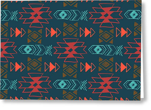 Native American Seamless Pattern With Greeting Card
