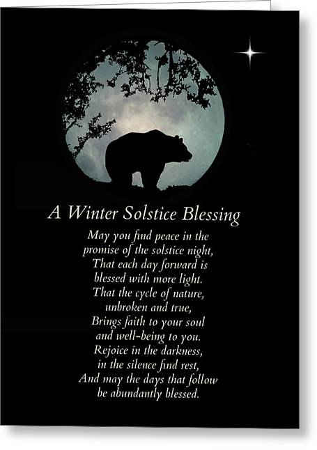 Native American Winter Solstice Blessings With Bear Greeting Card
