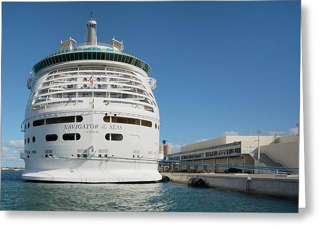 Greeting Card featuring the photograph Navigator Of The Seas At Dock by Bradford Martin