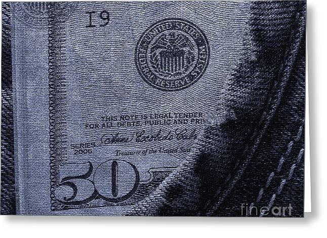 Navy Blue Denim And Money Greeting Card