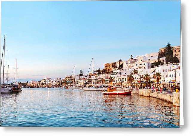 Naxos Old Town After Sunset, Greece Greeting Card