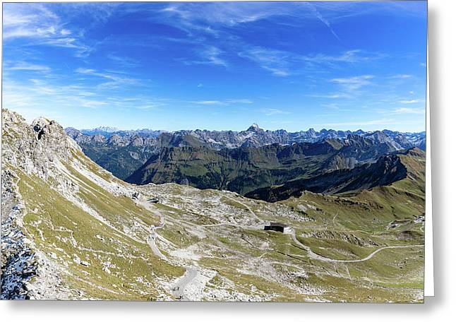 Greeting Card featuring the photograph Nebelhorn Panorama by Andreas Levi