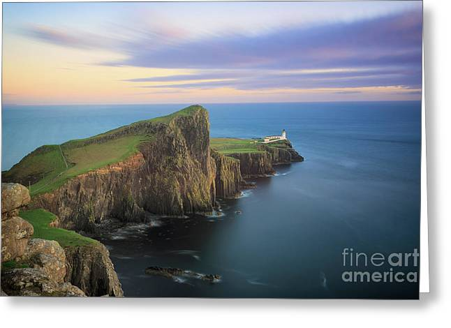 Greeting Card featuring the photograph Neist Point Lighthouse On Skye At Sunset by IPics Photography