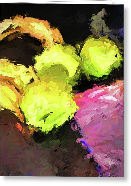 Neon Apples With Bananas Greeting Card