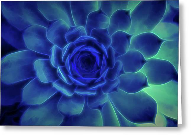 Neon Blue Sempervivum Greeting Card