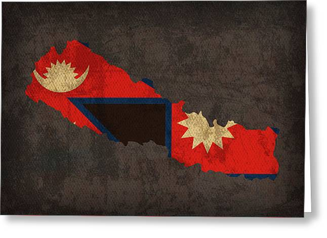 Nepal Country Flag Map Greeting Card