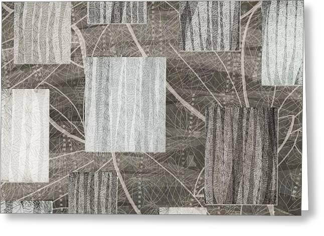 Neutral Leaf Print Squares Cream Greeting Card