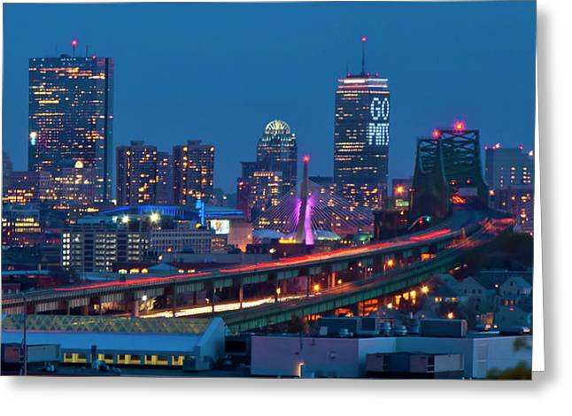 New England Patriots - Boston Skyline Greeting Card