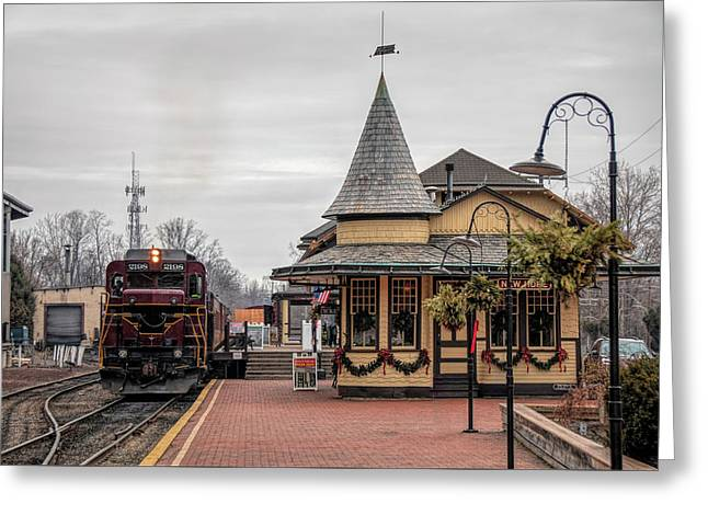 New Hope Train Station At Christmas Greeting Card