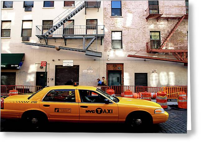 Greeting Card featuring the photograph New York, Cab by Edward Lee