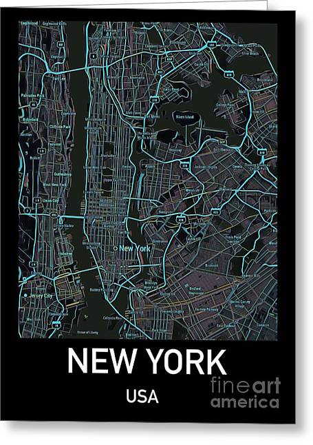 New York City Map Black Edition Greeting Card