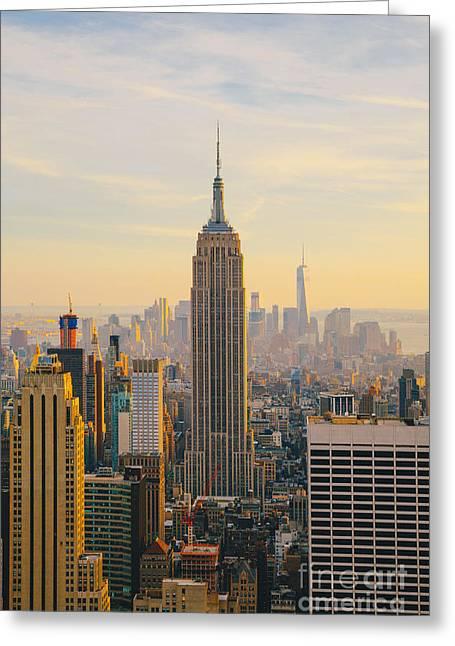 New York City Skyline With Urban Greeting Card by Irina Kosareva