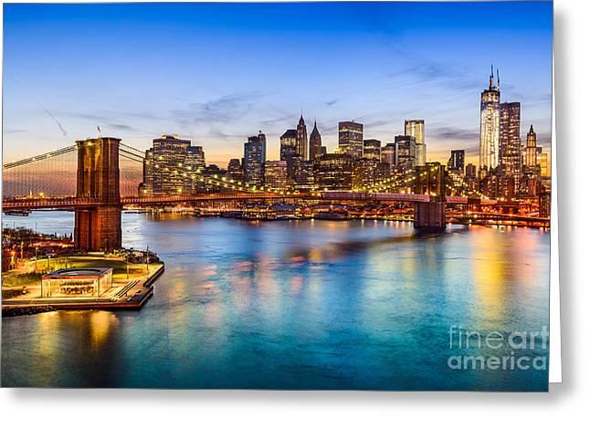 New York City, Usa Skyline Over East Greeting Card