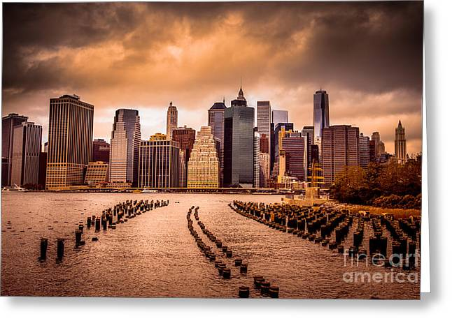 New York City View Of Lower Manhattan Greeting Card