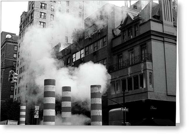 Greeting Card featuring the photograph New York, Steam by Edward Lee
