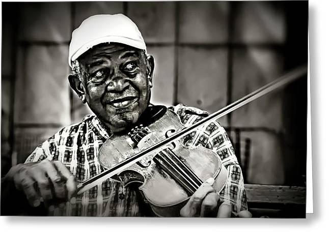New York Street Fiddler Greeting Card