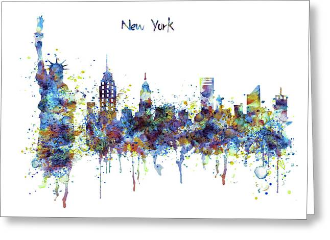 New York Watercolor Skyline Greeting Card