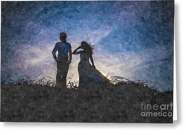 Newlywed Couple After Their Wedding At Sunset, Digital Art Oil P Greeting Card