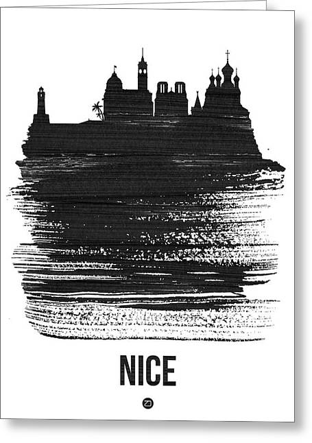 Nice Skyline Brush Stroke Black Greeting Card