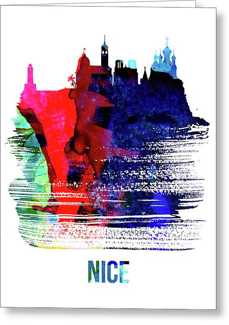 Nice Skyline Brush Stroke Watercolor   Greeting Card