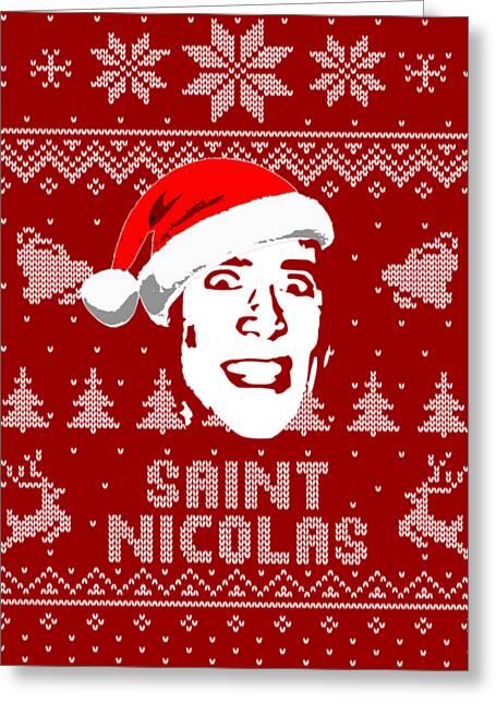 Nicolas Cage Saint Nicolas Christmas Shirt Greeting Card
