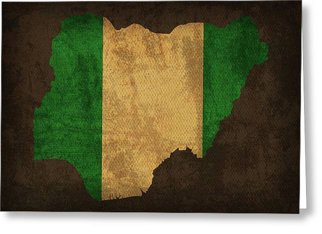 Nigeria Country Flag Map Greeting Card