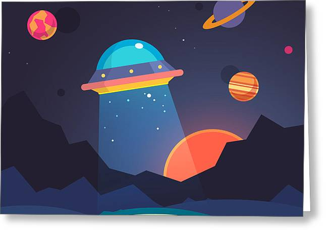 Night Alien World Landscape And Ufo Greeting Card