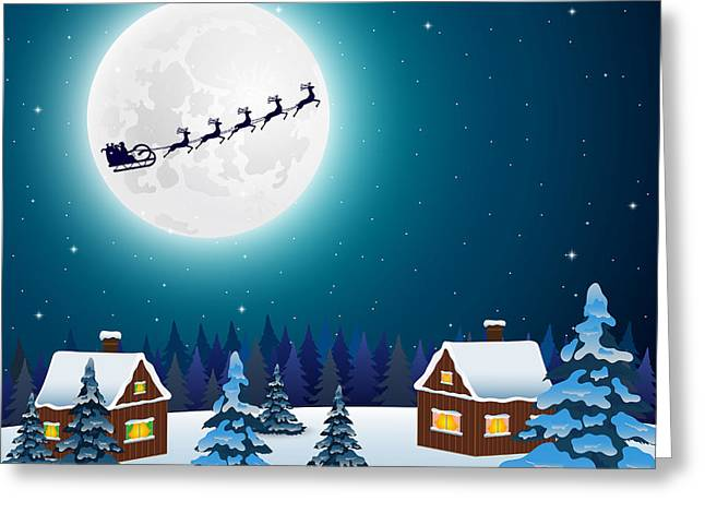 Night Christmas Forest Landscape. Santa Greeting Card