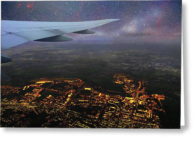 Night Flight Over City Lights Greeting Card