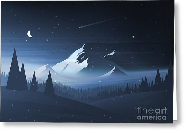Night Mountain Winter Landscape. Vector Greeting Card