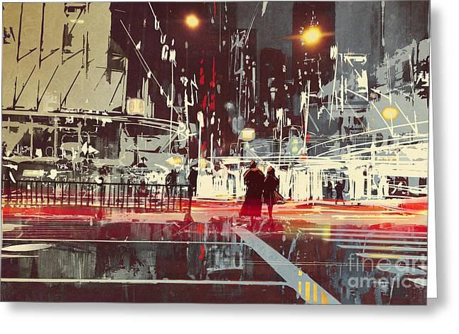 Night Scene Of Modern City Greeting Card