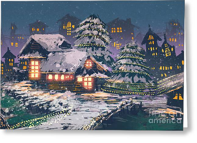 Night Scene Of Wooden Houses With Greeting Card
