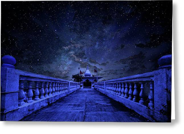 Night Sky Over The Temple Greeting Card