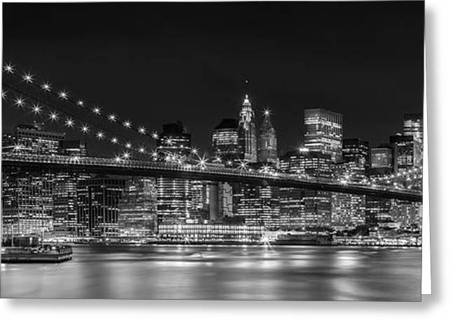 Night-skyline New York City Bw Greeting Card