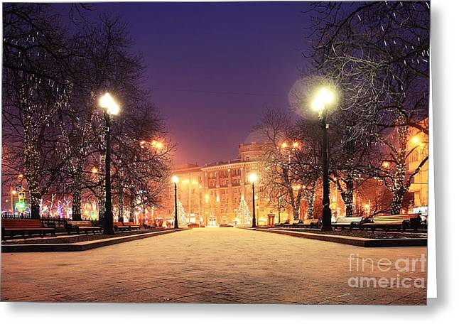 Night Winter Landscape In Amazing City Greeting Card
