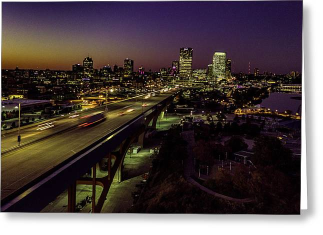 Greeting Card featuring the photograph Nightfall In Milwaukee by Randy Scherkenbach