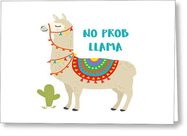 No Prob Llama - Baby Room Nursery Art Poster Print Greeting Card