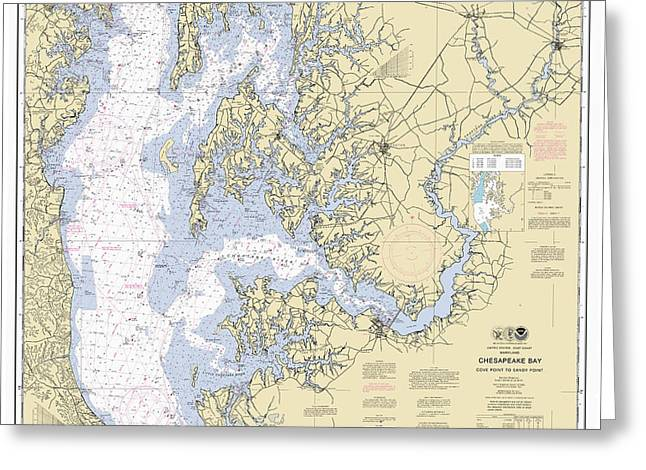 Chesapeake Bay, Cove Point To Sandy Point Nautical Chart 12263 Greeting Card