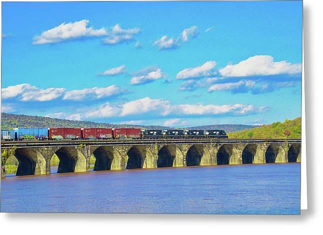 Norfolk Southern Crossing The Rockville Bridge Greeting Card