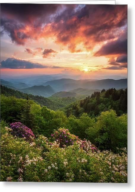North Carolina Great Smoky Mountains Sunset Landscape Cherokee Nc Greeting Card
