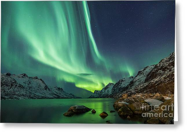 Northern Lights Above Waters Edge Greeting Card
